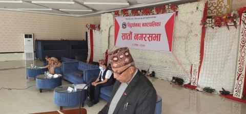 सातौ नगर सभामा नीति तथा कार्यक्रम प्रस्तुत गर्नु हुदै नगर प्रमुख हरिप्रसाद अधिकारी